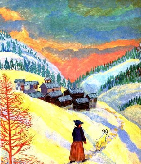 жкещина с козой в горах зимой