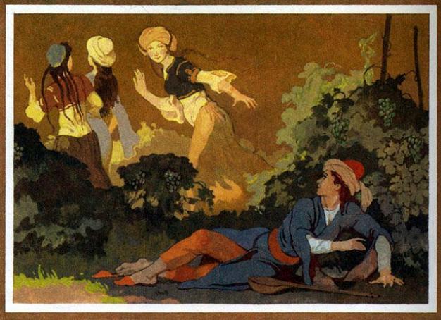 Ашик-Кериб отдыхает под виноградником