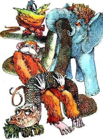 Попугай Слоненок Мартышка держат удава
