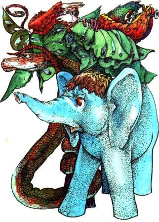Попугай Слоненок удав обезьяна