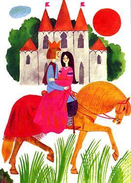 Бартек верхом на коне с принцессой у замка