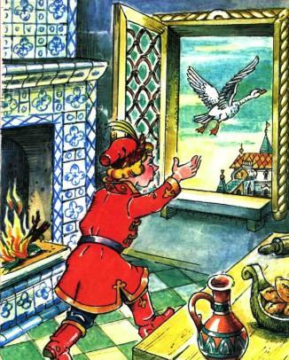 обернулась Василиса белой лебедью и вылетела в окно