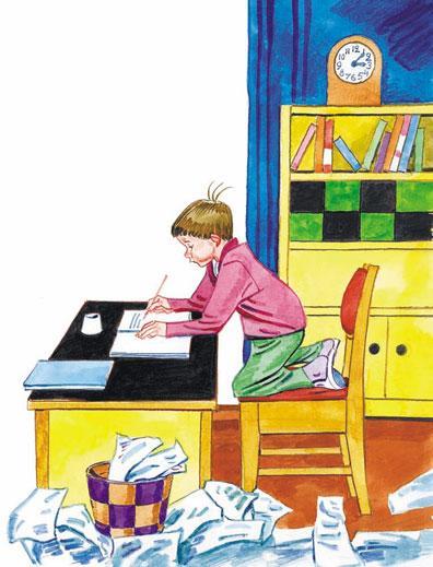 Чистописание ученик делает домашнее задание