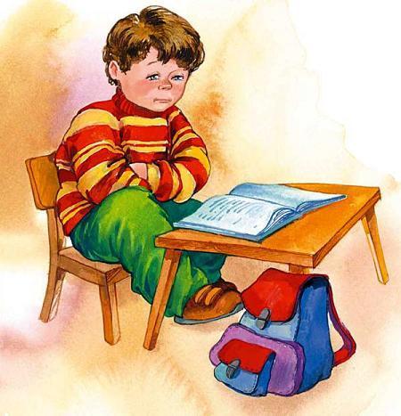 мальчик за уроками