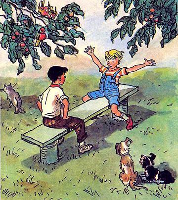 Мишутка и Стасик сидели в саду на скамеечке и разговаривали.