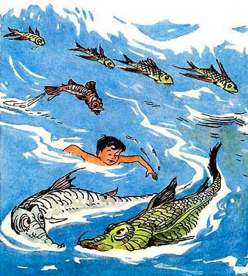 Мишутка пееплывает океан