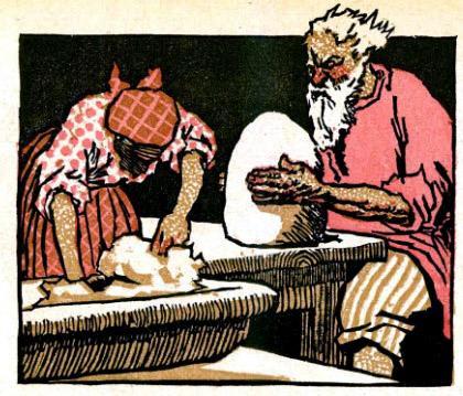 Старик вылепил из глины паренька.