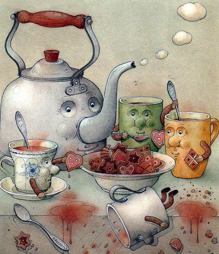чайник и чашки чаепитие