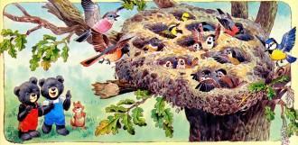 гнездо на дереве птенцы и птицы медвежата и бельченок под деревом