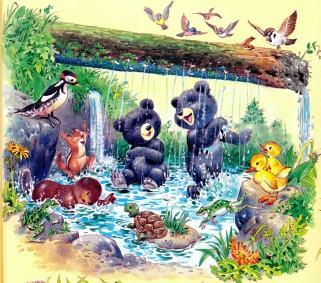 медвежата и зверята купаются