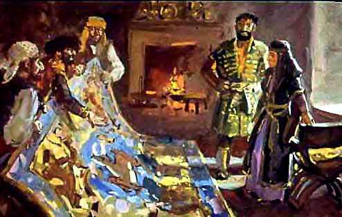 разбойники показывают Голубой ковёр царице