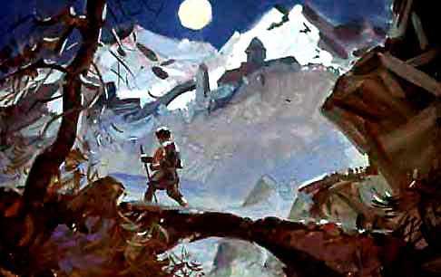 однажды вечером заблудился он в горах и попал в дикое ущелье