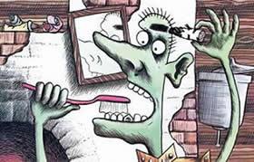 кощей чистит зубы