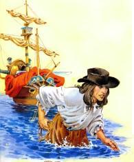 Гулливер с кораблем на привязи переходит