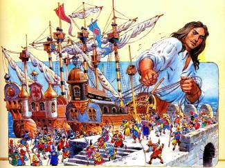 гулливер снимает с якоря и топит корабли блефуску