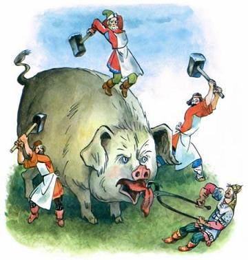 кузнецы с молотами считают ребра огромной свинье