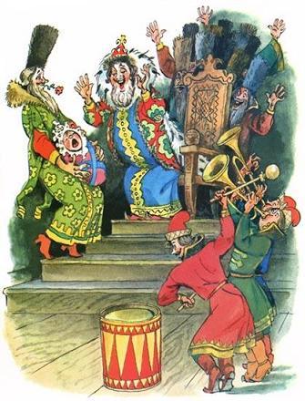 царь радуется своему сыну вместе с боярами