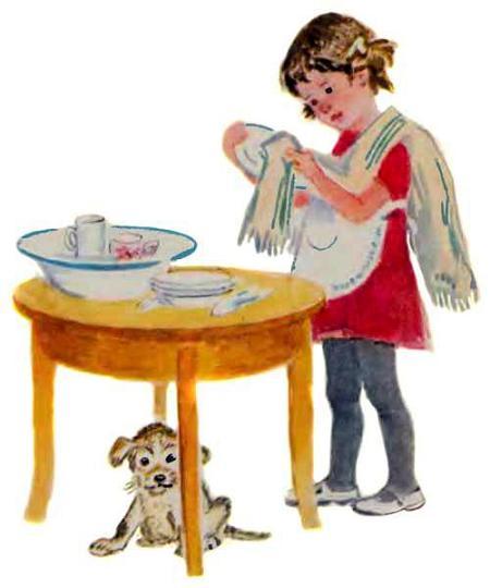 девочка Маша моет и протирает посуду а щенок под столом