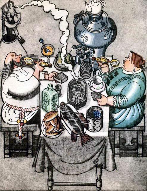 поп и поподья пьют чай