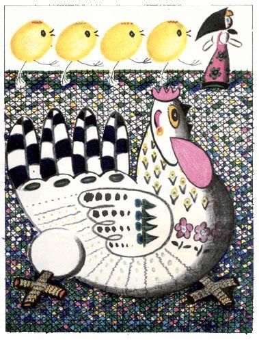 девочка Катя курица и цыплята