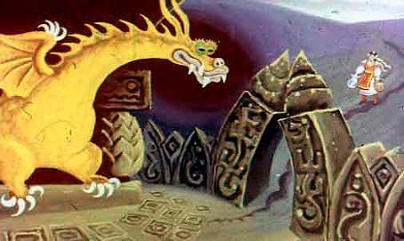 А змей, который жил за тем полем, в лесу, взял и ту бороздку заровнял, а другую протянул прямо к своему дворцу