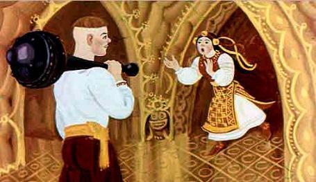 Катигорошек выбегает ему навстречу царевна