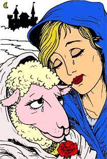 девушка и овечка