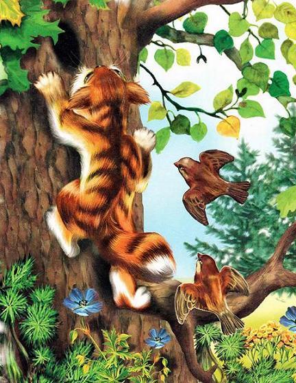 кот ползет по дереву