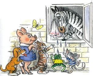 звери щенок котенок лягушонок мышенок поросенок зебра плачет