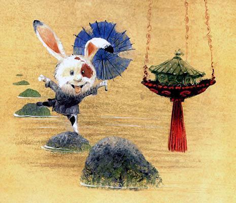 заяц переходит речку по камням