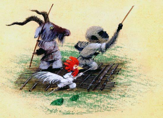 козел обезьяна и петух на плоту