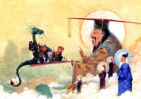 в чертоги Небесного дворца явились: Дракон, Бык, Лошадь, Обезьяна, Петух, Змея, Коза, Свинья, Тигр, Кролик, Пёс, Кот и Крыса. Кот и Крыса