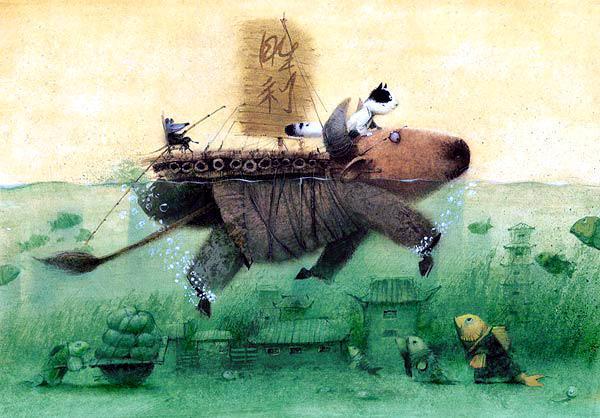 бык переплывает реку верхом кот и крыса