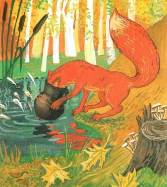 Сказка по картинкам лиса и кувшин