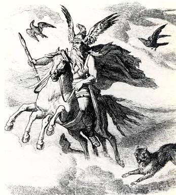 Верховный бог Один на восьминогом Спейпнире.