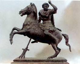 Александр Македонский (356–323 гг. до Р.Х.) на своем коне Буцефале.