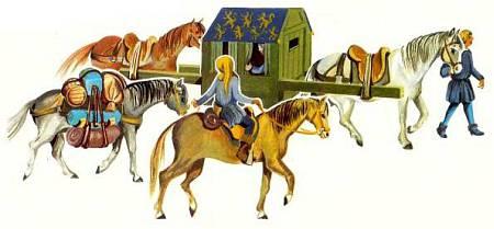 Путешествовать в конном паланкине — носилках было удобнее, чем ехать верхом.