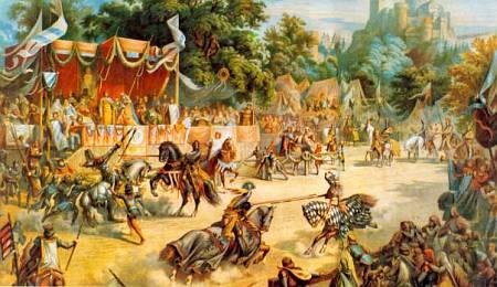Турнир был рыцарским поединком. Побеждал тот, кто копьем выбивал противника из седла.