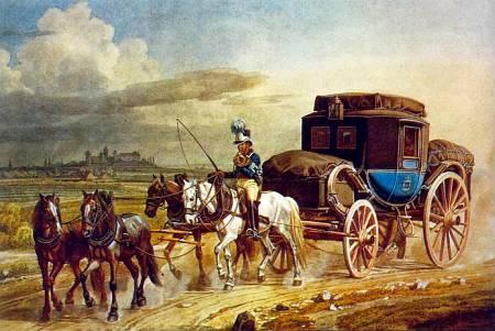 До середины XIX в. для путешествий пользовались почтовой каретой. Затем ее вытеснила железная дорога.
