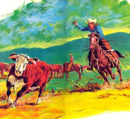Американский ковбой ловит на пастбище бычка. Лошадь реагирует на почти незаметные движения всадника, когда тог меняет положение тела или сжимает круп ногами.
