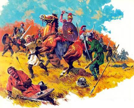 Римская легкая кавалерия на поле брани.