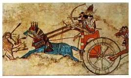 Ассирийская колесница на львиной охоте (ок. 740 г. до P.X).