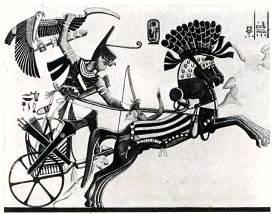 Египетский фараон Рамзес III на колеснице.