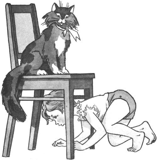 Маша-растеряша под стулом кот на стуле