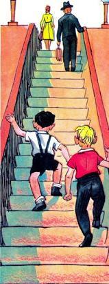 Мы с Вовкой мальчишки поднимаются по эскалатору из Метро