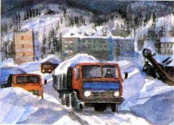 грузовики вывозят снег
