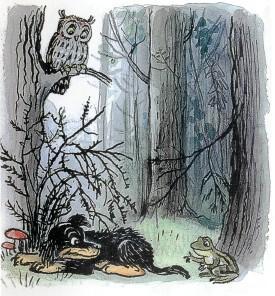 щенок, собака, лес, лягушка, сова, страх