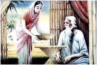 Мотхо омыла ноги старому отцу, прибралась в доме, испекла просяные лепешки, сварила рис и накормила отца