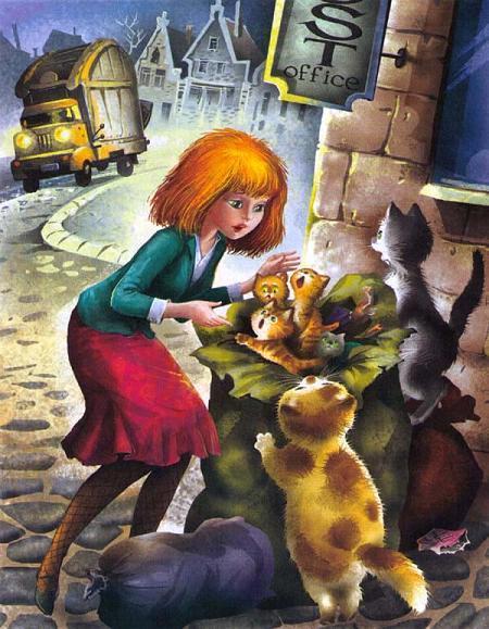 Мурли и мешок с маленькими котятами