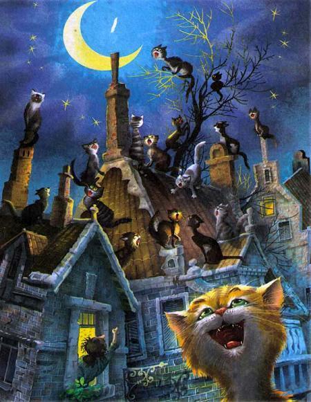 коты ночь на крыше луна